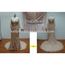 Sleeve deep V beading belt elegant Chiffon ladies party dresses
