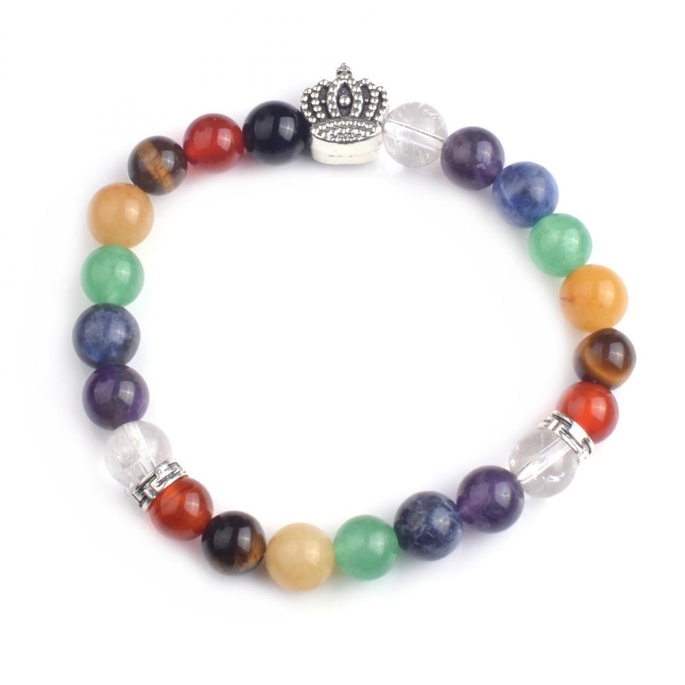 Wholesale Colorful Chakra Elastic ​Beads Bracelets with Charms Buddha/Lion Bracelet