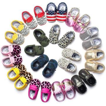 Mocassins infantis infantis Mocassins e sapatos de bebê leopardo
