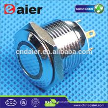 Daier 16mm bouton poussoir interrupteur à bouton-poussoir étanche