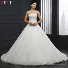Q025 Cheap Long Strapless Backless Crystal Wedding Dresses 2016
