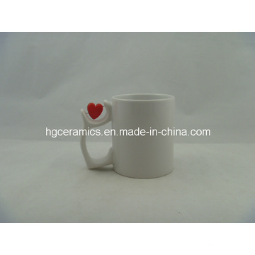 Sublimation White Mug with Red Heart Insert