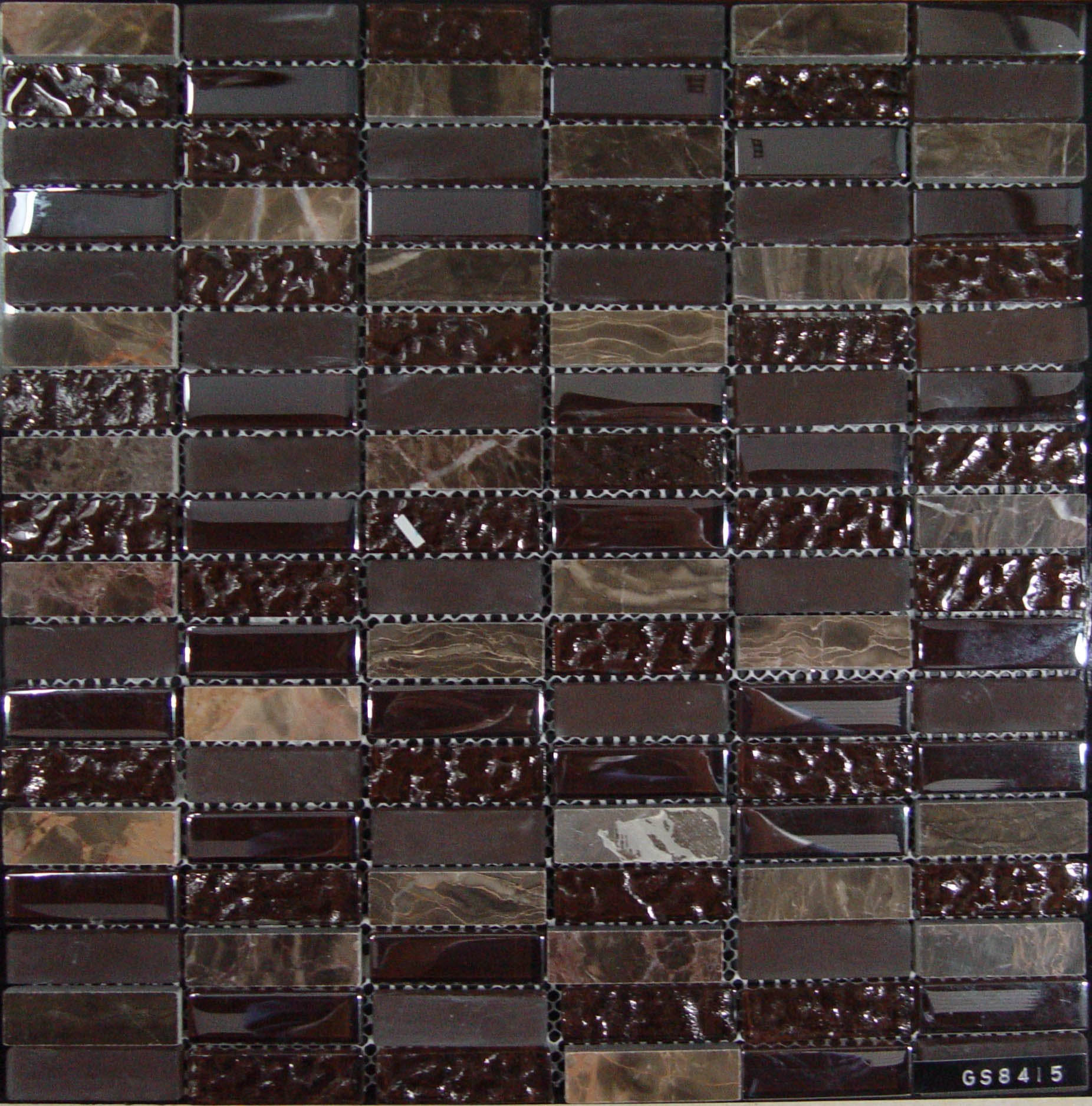 Dark Brown Crystal Glass Stone Mixed Mosaic