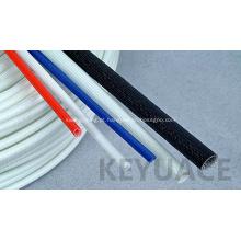 Isolação trançada do tubo do vidro de fibra revestido do silicone