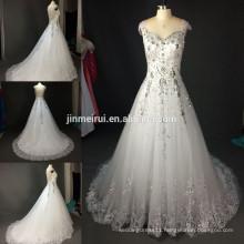 100% Real Photo High Quality Luxurious Court Train Alibaba Wedding Dress Crystal Lace Sheer Illusion Bridal Wedding Dresses 2016