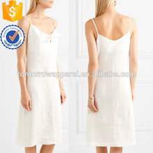 Hot Sale Spaghetti Strap White Tie-Front Linen Midi Summer Dress With Bow Manufacture Wholesale Fashion Women Apparel (TA0244D)