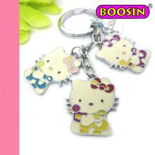 Regalo lindo de la promoción Hello Kitty Cat Llavero / Catoon Metal Keychain