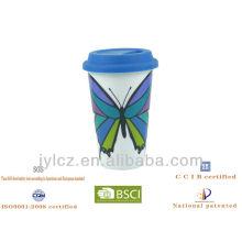 Taza de café de cerámica de la pared doble 280cc con la tapa del silicio