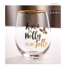 Wholesale Glass Wine Tumbler Stemless Wine Glass Cup with Decal Logo, Custom Stemless Wine Glass, Wine Tumbler