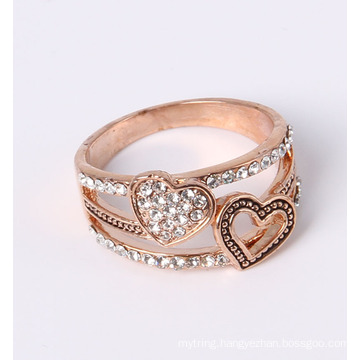 Double Heart Shape Fashion Jewelry Ring Factory Wholesale
