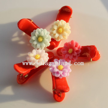 Hottest Colors Beautiful Resin Flower Hair Slide Accessory