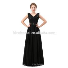 2018 новое прибытие черный цвет длина пола шифон вечерние платье с блестками