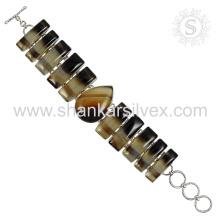 New Spectacular Onyx Gemstone Bracelet 925 Jóias em Prata de Prata Jóias Artesanais