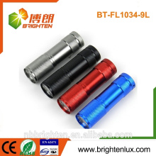 2015 Hot Sale Cheap Price 9 Led Flashlight Colorful Mini Aluminum 3*AAA battery emergency torch