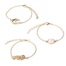 Fashionable temperament bracelet set 3-piece alloy leaf Opal round gemstone bracelets