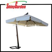 3 * 3M en bois Cantilever 240G Polyester Parasol avec ouvert dans le milieu et 18-20cm Rabat