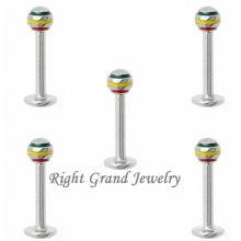 Customized Design Jamaican Stripe Ball Lip Ring