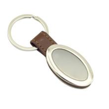 Förderung Zink-Legierungs-Metall-Leder-Schlüsselring mit kundenspezifischem Firmenzeichen (F3054)