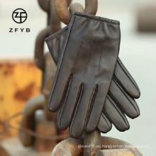 Hombre de piel de estilo liso apretado conducir guantes de cuero fabricante en hebei