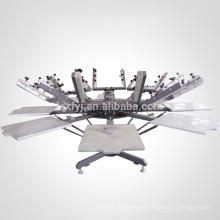 manual 8 color 8 station carrusel t shirt impresora de pantalla de seda con micro registro para la venta