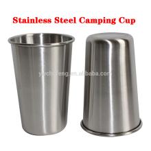 Tasses d'acier inoxydable de bord lisse, verres de pinte de 16 onces multi-usages, pot de vin de tasses de camping en métal de solides solubles