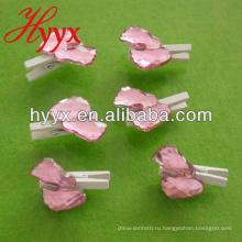 Розовые детские след с зажимом 25мм