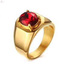 Novo design banhado a ouro anéis de zircão vermelho indonésia jóias