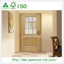 Porte intérieure en placage de bois avec verre décoratif