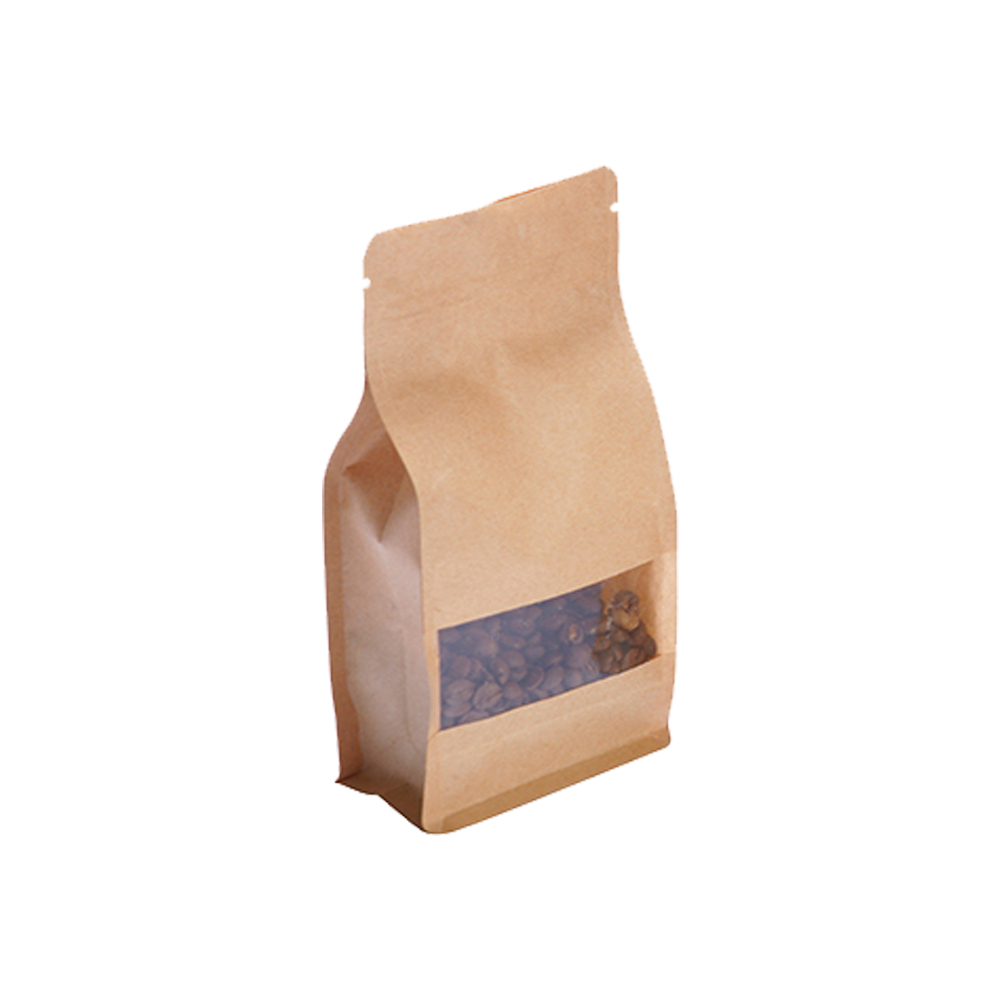 Kraft Paper Flat Bottom Pouch With Ziplock
