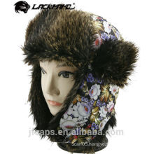 Custom ladies fake furry winter hat trapper hat