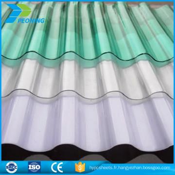 Tôle de toit en plastique ondulé rigide ondulé coloré pour serre