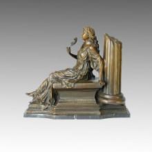 Classique Bronze Sculpture Fleur Lady Deco Statue en laiton TPE-009