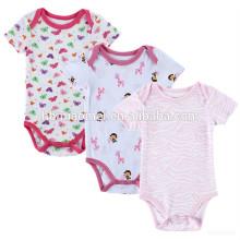 2017 nuevo diseño de los bebés suaves 100% algodón impresión onesie dulce bebé niña mono mameluco floral