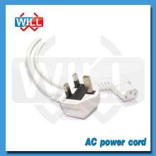 Câble d'alimentation USB blanc 3 puces avec homologation BS avec CEI C13