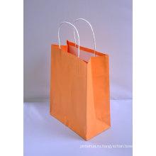Подарочная сумка Kraft Paper с ручкой Twist или плоской ручкой