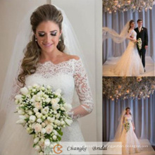 Elegante vestido de novia de encaje Proveedor Lace Appliqued vestido nupcial por encargo