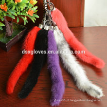 Genuine Mink Tail Chaveiro, Plush Car Pendant Fur Tail Keychain
