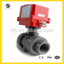 DN40 AC120V UPVC elektrischen actuactor Kugelhahn für Bewässerungssystem, Kühl- / Heizsystem, Niederspannungs-Sanitär-System
