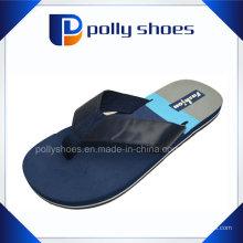 Chausson d'intérieur bleu chaud de cale de blanc de courroie de logo d'EVA, pantoufle de salle de bains d'EVA