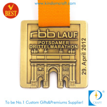 Customized Ancient Copper Pressure Stamping 3D Marathon Medal with Good Quality