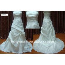 Para 2012 vestidos nupciales simples del strapess simple del satén de la importación