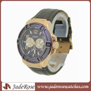 Fashion Stainless Steel Watches Men Japan Quartz Movement Genuine Leather