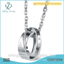 Wholesale price stainless steel ring love you necklace love symbol necklace