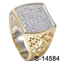Anel novo dos homens da configuração da jóia da forma dos projetos com CZ branco (S-14584)