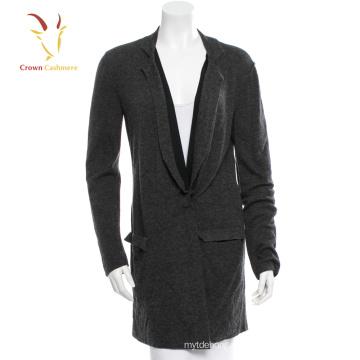 Cardigan de lã preta extragrande