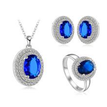 Синий цвет сапфир Свадебные наборы ювелирных изделий (CST0027-B)