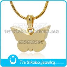 Mariposa de diseño simple Urn 18K IP Gold Staineless Urnas de acero Cremación Colgante de recuerdo al por mayor en la fábrica de China