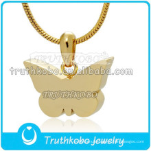Simple Butterfly Design Urn 18K IP Gold Staineless Steel Urns Cremation Pendant Keepsake Wholesale in China Factory