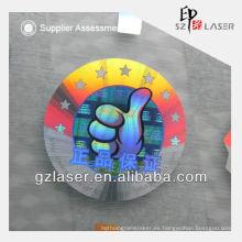 Etiqueta holográfica de encargo en relieve con estampado en caliente