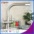 Latão Chromed 3 Way Cozinha Faucet Faucet Filter Water Mixer